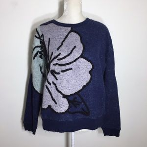 Anthro • HWR embroidered mohair knit sweater